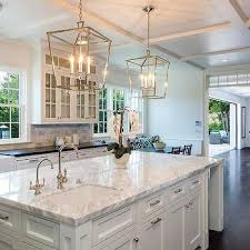 lighting over kitchen island. Polished Nickel Darlana Lanterns With Marble Top Island. House LightingKitchen Lighting Over Kitchen Island