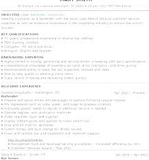 Resume For A Bartender Amazing Bar Tender Resume Bartender Skills Professional Good Example Resume