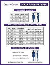 Choir Robe Size Chart Choir Robes Size And Color Charts Churchchoirs Com