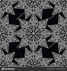 Naadloze Decoratieve Zwart Wit Bloemen Behang Stockvector