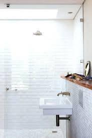 black tile effect bathroom wallpaper white grey striped shower