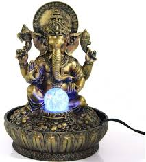 Crystal Light Electric Motor Ez Life Fengshui Water Fountains Ganesha Blessings With Led Light And Crystal Ball And Electric Motor Gold And Bronze Color Resin