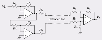 balanced circuit balanced line connected to electronically balanced circuitry