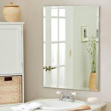 frameless bathroom vanity mirror. Stunning Design Of The White Sink And Beige Wall Ideas With Frameless Bathroom Mirror Vanity C