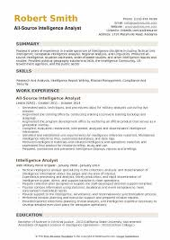 Military Analyst Sample Resume