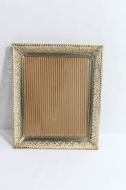 1950s metal filigree picture frame 8 x 10 ornate gold tone mid century