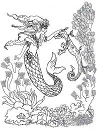 Majestic Mermaid And Seahorse Difficult Adult Coloring Pages Free To