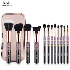 Набор кистей для макияжа профессиональный anmor professional makeup brush set indian черный 12шт
