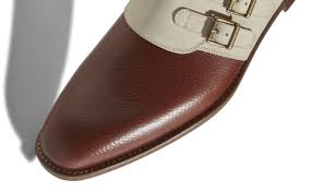 cognac brown and dark cream calf leather monk strap shoes image 4