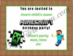 birthday invitations invite birthdayinvite minecraft card amazon party
