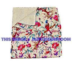 Queen sari kantha quilt in Beige indian kantha blanket & Queen sari kantha quilt in Beige indian kantha blanket-Jaipur Handloom ... Adamdwight.com