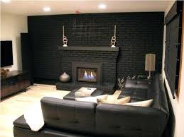 gray brick fireplace black painting wall grey ideas