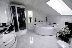 luxury bathroom design white vessel bath sink big wall mirror shower glass door cream grey colors