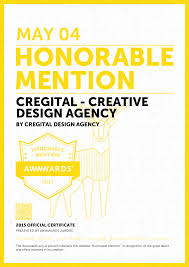 Honorable Mention Certificate Cregital Declared Honorable Mention By Awwwards