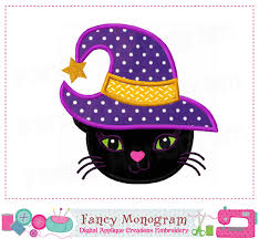 Halloween Applique Machine Embroidery Designs Witch Hat Applique Halloween Applique Halloween Cat Witch
