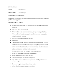 Cover Letter Truck Driving Job Description Truck Driving Job
