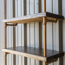 Industrial Pipe Shelving Unit - Pipe shelf - Pipe bookcase - Pipe shelving  - Industrial Bookshelves - Copper Color and Dark Walnut Pine