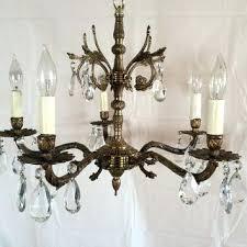 brass chandelier antique vintage crystal made in parts uk