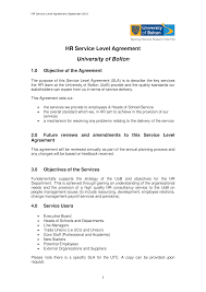 Free Hr Service Level Agreement | Templates At Allbusinesstemplates.com
