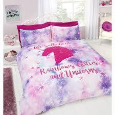 334451 rainbow unicorn double bed set