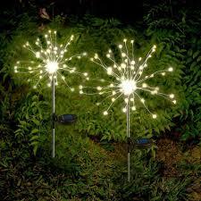 Berkley Jensen Solar Security Light Solar Powered Garden Path Lights Starburst Led Stake Firework Light Outdoor New