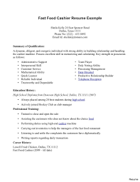 Fast Food Resume Sample Cashier Resume Examples Resumes For 100 100a Skills At Fast Food 2