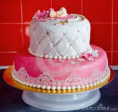 Christening Cake For Baby Girl Stock Image Image Of Frosting