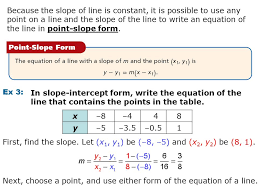 because the slope of line is constant it is possible to use any point on