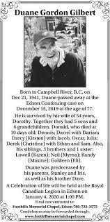 Duane Gordon GILBERT | Obituary | Postmedia Obituaries