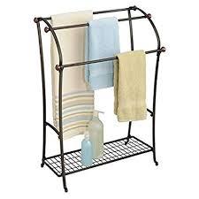 free standing towel rack. MDesign MetroDecor Free Standing Towel Rack For Bathroom, Two Tone Bronze L