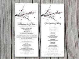 Diy Red Blooming Tree Branch Winter Wedding Program Microsoft Etsy