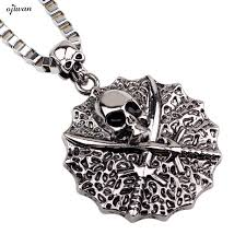 pirate necklace mens gothic skull rock roll punk skeleton nautical necklace hip hop jewelry snless
