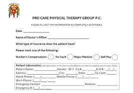 patient information form care physical therapy group pc