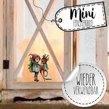 Mini Fensterbild Weihnachtsdeko Weihnachten Mädchen Reh