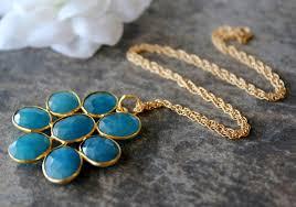 large blue chalcedony daisy style necklace statement necklace apatite blue pendant gemstone flower pendant gold vermeil bygerene