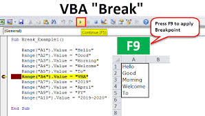 Vba Break Top 2 Methods To Apply Break Points In Excel Vba