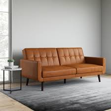 Better Homes & Gardens Nola Modern Futon, Camel Faux Leather ...