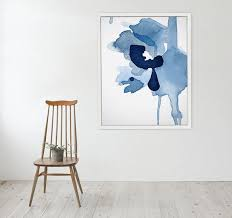 on large blue flower wall art with large blue tones abstract wall art