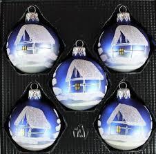 Exklusives 5er Christbaumschmuck Set Blau Silber In 6cm Mit Wunderschöner Winterlandschaft Bemalt
