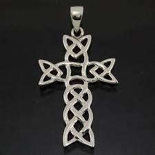 details about solid sterling silver 925 small celtic knot vintage cross pendant lace necklace