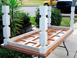 get step by step instructions for building a craftsman dining table from a reclaimed door