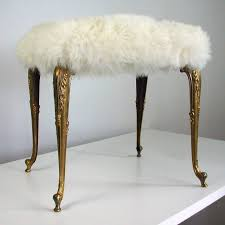 hollywood regency upholstered fur sheep bronze vanity stool chair 1960s for 1