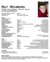 Sample Theatre Resumes Resume Template Actors Resume Example Diacoblog Com