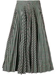 Designer Plaid Skirt Calvin Klein 205w39nyc Tartan Full Skirt Green In 2019