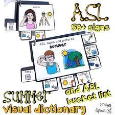 Asl Sign Language Summer Visual Flashcard Dictionary