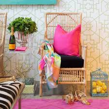 view full size eclectic living room design showcases a hot pink trellis rug