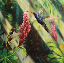 oil painting detail of the painting humming birds