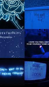 Dark Blue Aesthetic Collage Wallpaper