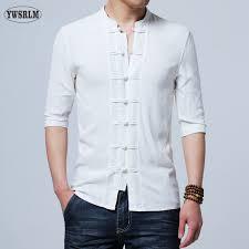 YWSRLM <b>Chinese style</b> cotton <b>Flax summer</b> yarn men's shirt men's ...