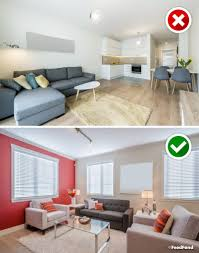 No furniture living room Couch If You Have Large Living Room Accentuate It With Rugbut Make Sure Its The Correct Size Rug Thats Too Small Would Look Outofplace While Having Feedfond Big No Avoid These 16 Design Mistakes In Your Living Room
